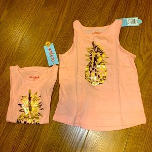 Cat & Jack sleeveless top with gold pineapple